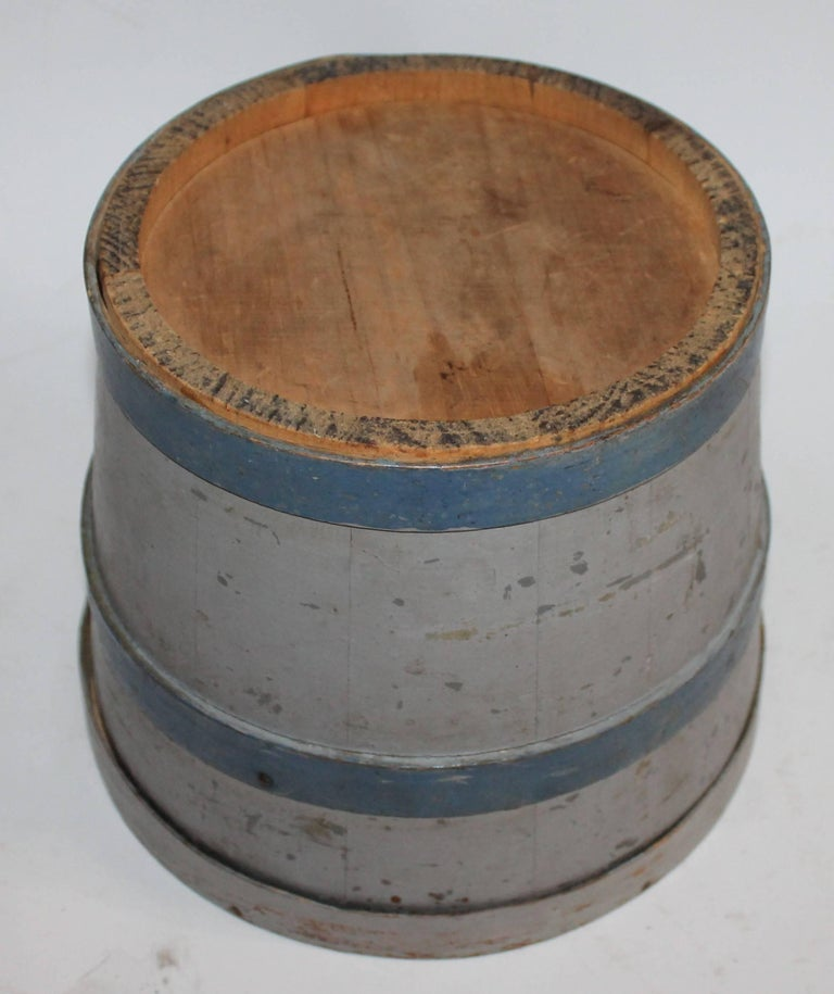 Late 19th Century 19th Century Original Painted Lard Bucket For Sale