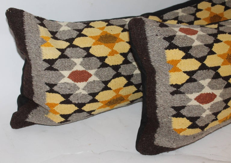 Adirondack Navajo Indian Weaving Bolster Pillows, Two For Sale