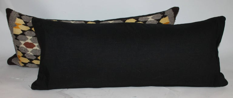 Navajo Indian Weaving Bolster Pillows, Two In Excellent Condition For Sale In Los Angeles, CA