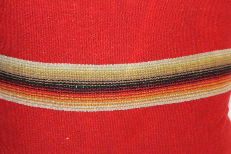 Hand-Crafted Mexican / American Early Wool Serape Pillows For Sale