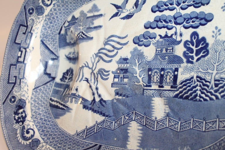 Hand-Crafted  English Blue Willow 19th Century Meat Platter Monumental Size For Sale
