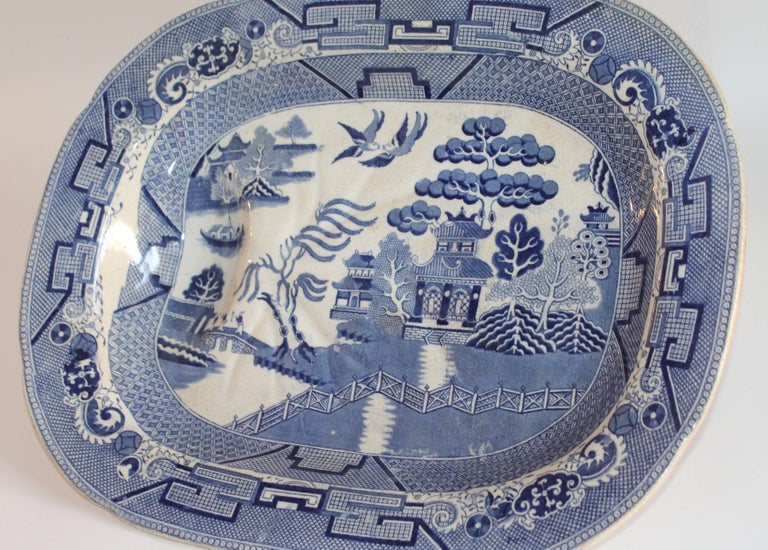 Country  English Blue Willow 19th Century Meat Platter Monumental Size For Sale