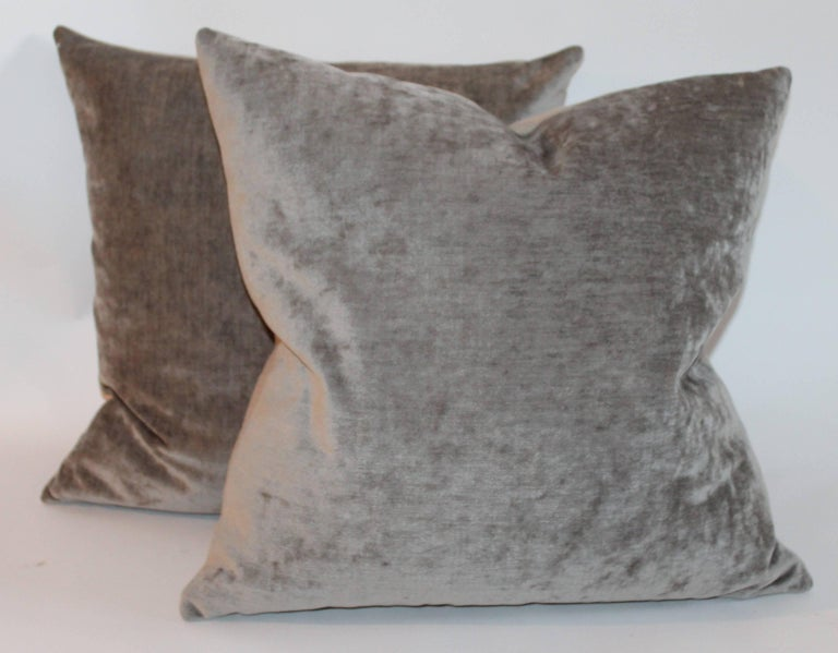 American Classical Velvet Lux Silk Olive Green Pillows, Pair For Sale