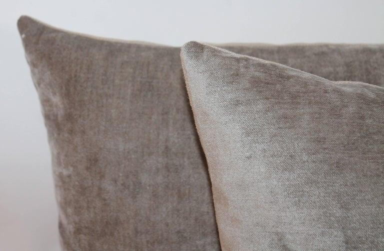 American Velvet Lux Silk Olive Green Pillows, Pair For Sale