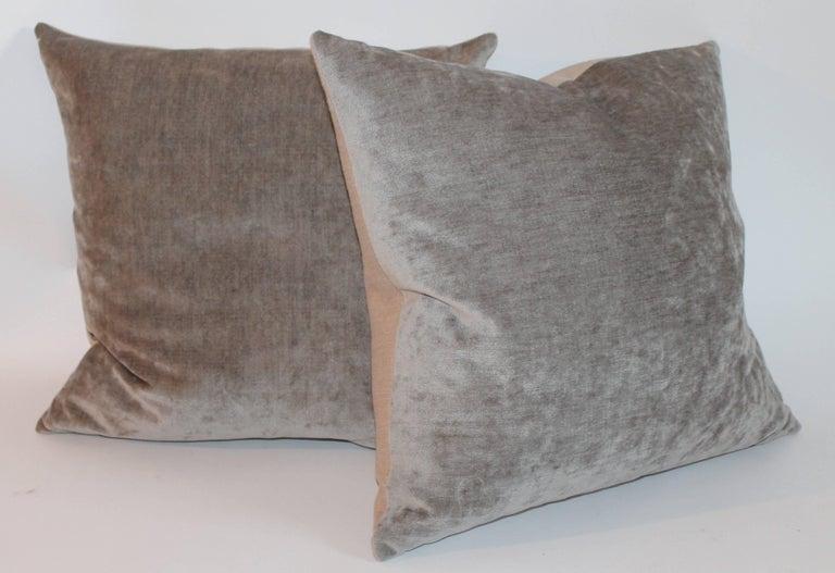 Velvet Lux Silk Olive Green Pillows, Pair 6