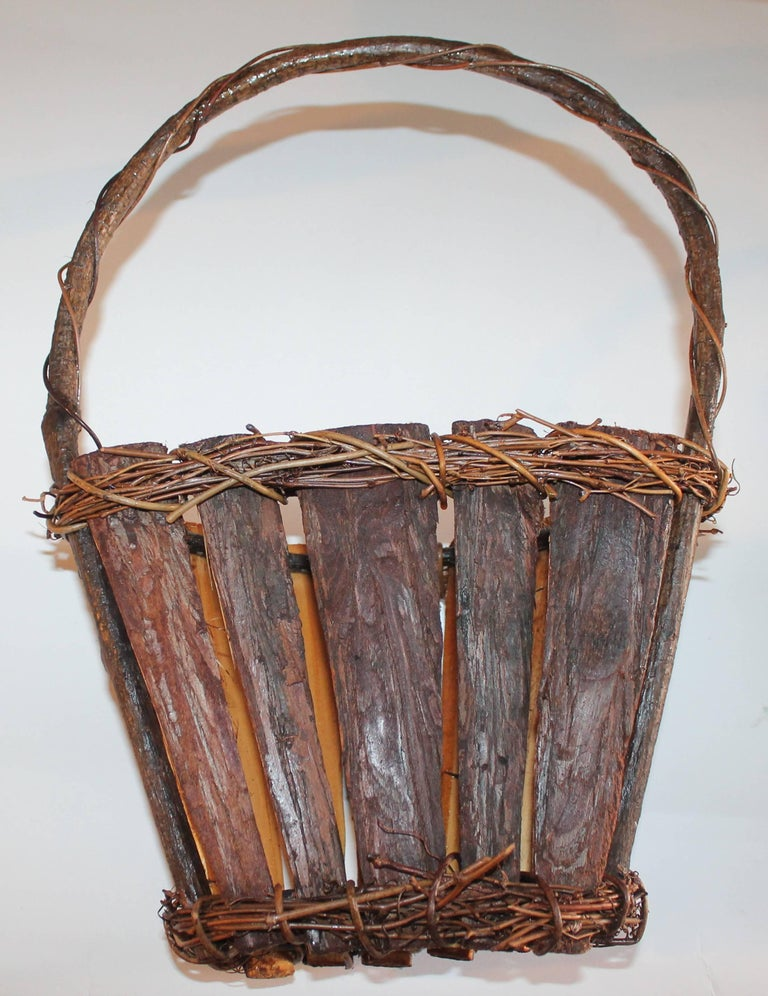Hand-Crafted Adirondack Wall Baskets, Pair For Sale