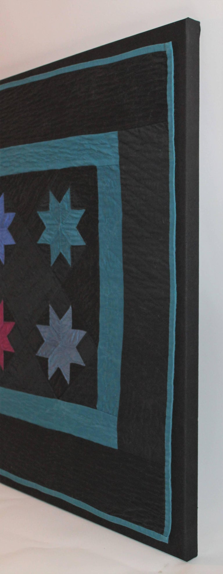 20th Century Amish Crib Quilt in Star Pattern Mounted on Custom Frame For Sale
