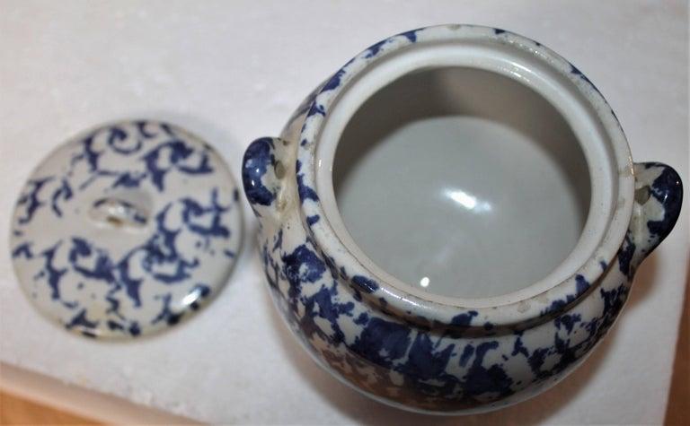 Pottery 19th Century Miniature Spongeware Pot For Sale