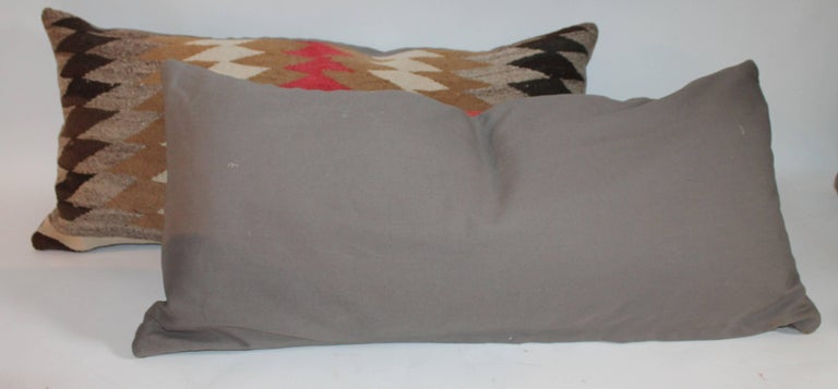American Pair of Navajo Indian Weaving Bolster Pillows For Sale