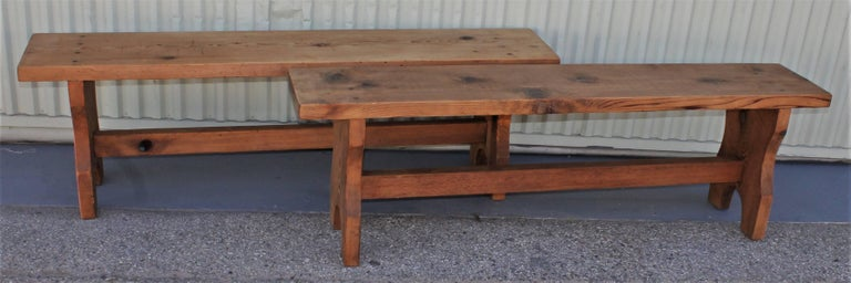 These pine Amish made farm house benches are in pristine condition and very strong and sturdy. They are perfect at a farm table for seating. Great natural surface with wood peg construction.