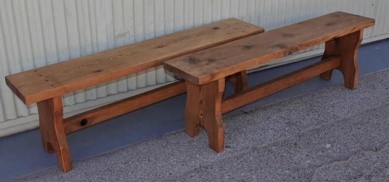 Other Farm House Amish Made Benches, Pair For Sale