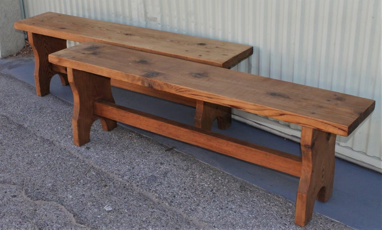 American Farm House Amish Made Benches, Pair For Sale