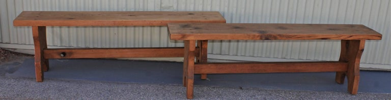 20th Century Farm House Amish Made Benches, Pair For Sale