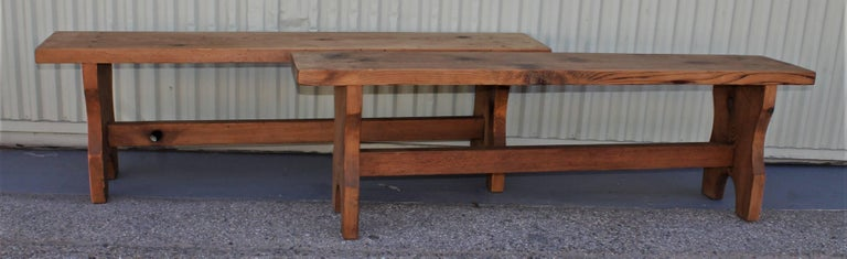 Farm House Amish Made Benches, Pair In Excellent Condition For Sale In Los Angeles, CA