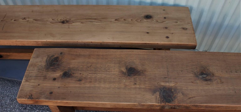 Wood Farm House Amish Made Benches, Pair For Sale