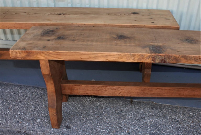 Farm House Amish Made Benches, Pair For Sale 1