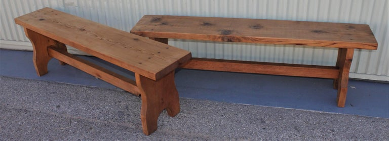 Hand-Crafted Farm House Amish Made Benches, Pair For Sale