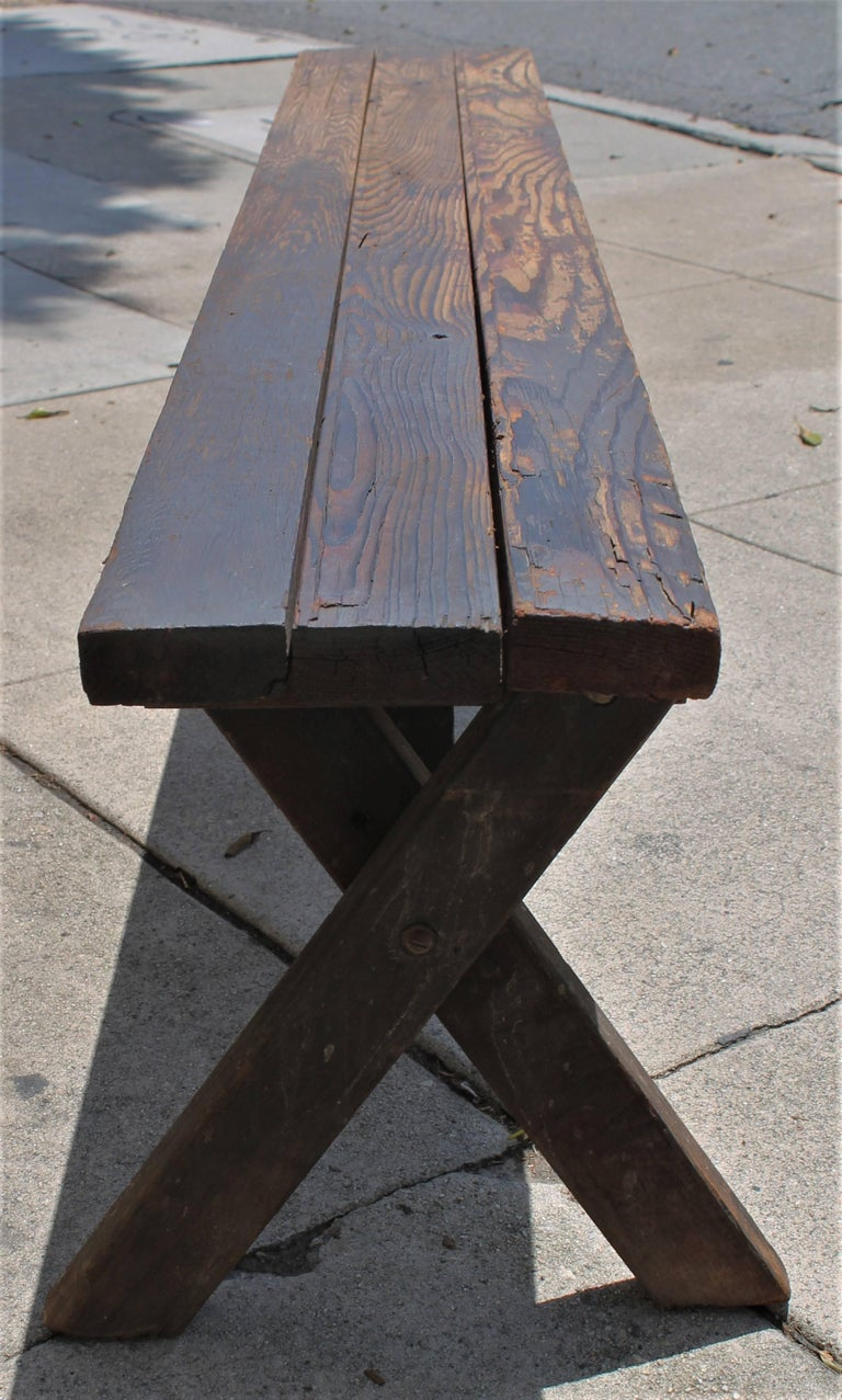 Rustic Picnic Table and Matching Benches For Sale 7
