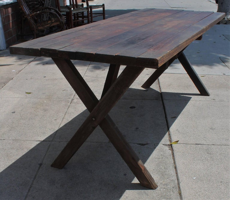 Rustic Picnic Table and Matching Benches For Sale 9