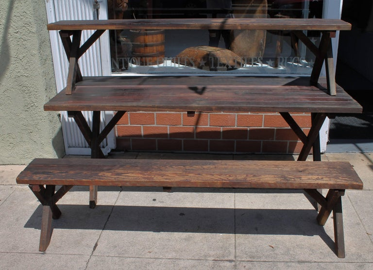 20th Century Rustic Picnic Table and Matching Benches For Sale