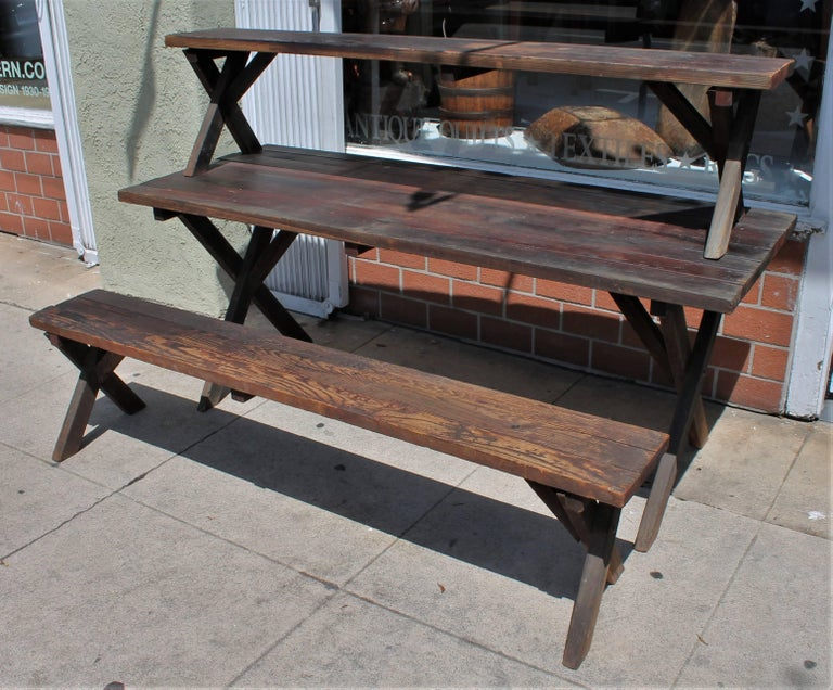 Wood Rustic Picnic Table and Matching Benches For Sale
