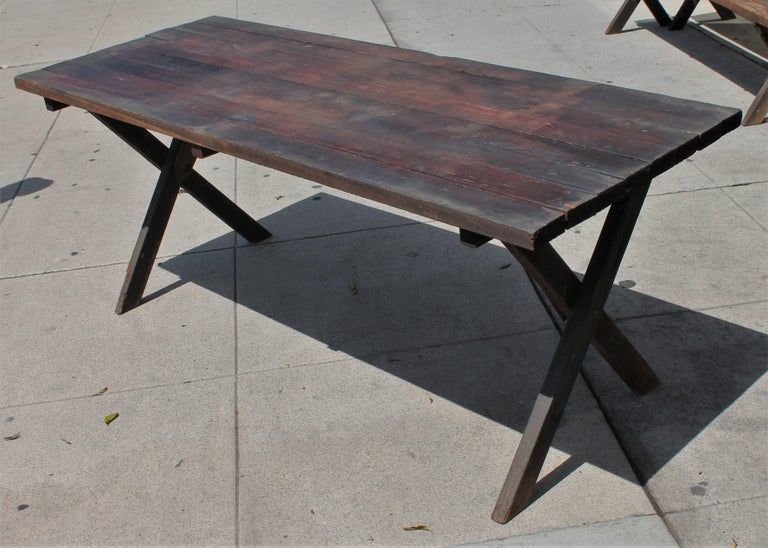 Rustic Picnic Table and Matching Benches For Sale 8