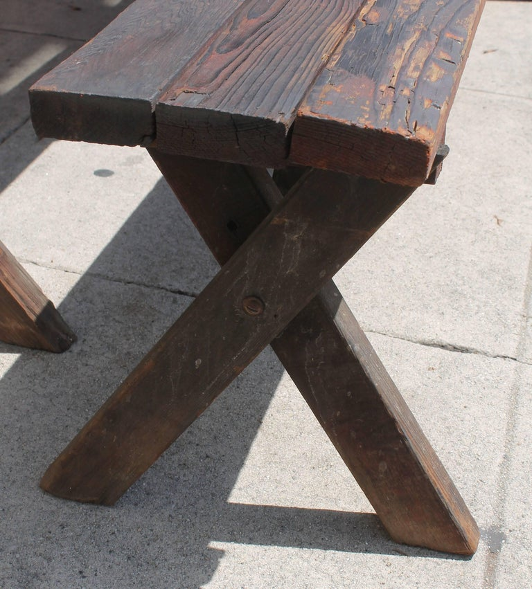 Rustic Picnic Table and Matching Benches For Sale 3