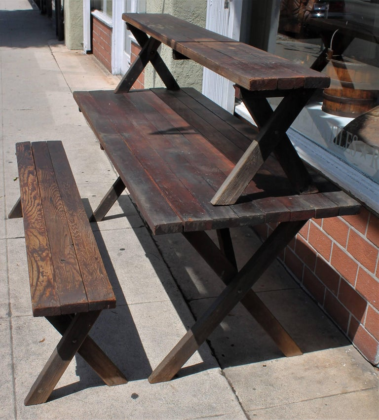 Rustic Picnic Table and Matching Benches For Sale 4