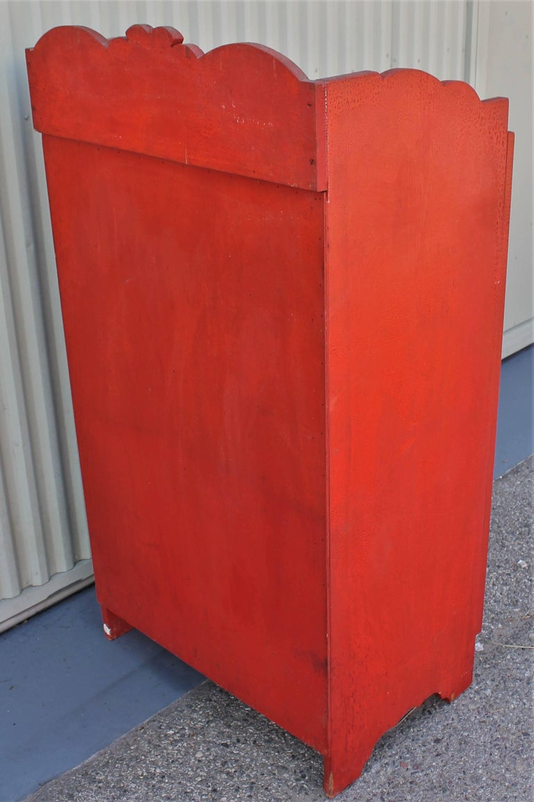 19th Century Original Red Painted Cupboard In Excellent Condition For Sale In Los Angeles, CA