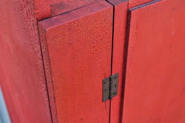 American 19th Century Original Red Painted Cupboard For Sale
