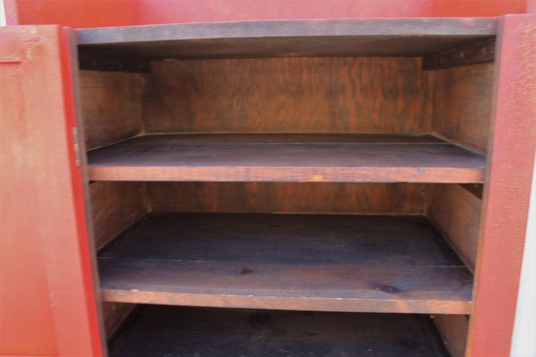 19th Century Original Red Painted Cupboard For Sale 1