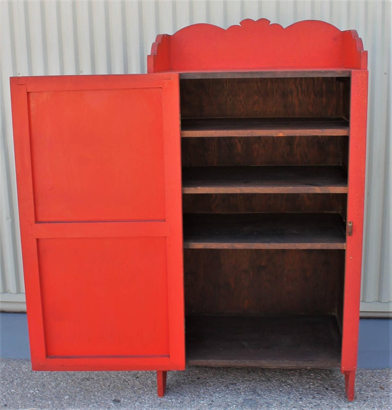 Pine 19th Century Original Red Painted Cupboard For Sale