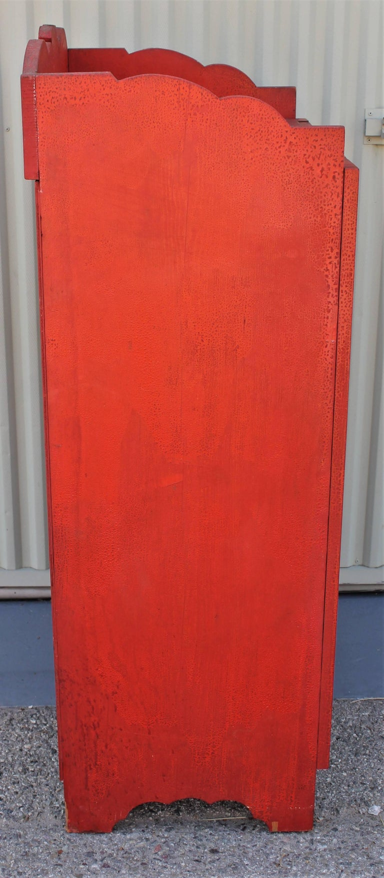 Hand-Painted 19th Century Original Red Painted Cupboard For Sale