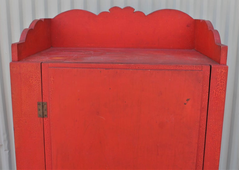 19th Century Original Red Painted Cupboard For Sale 4