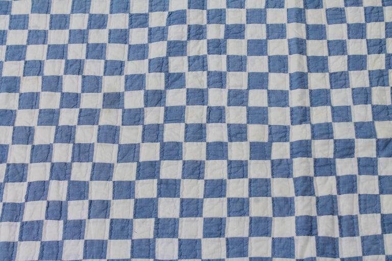 American Blue and White Postage Stamp Quilt For Sale