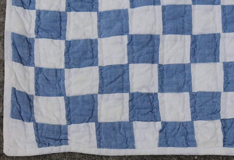 Cotton Blue and White Postage Stamp Quilt For Sale