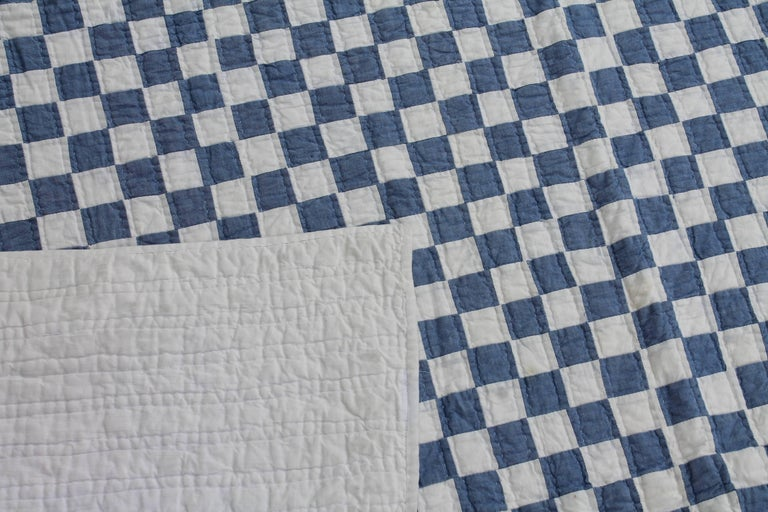 Blue and White Postage Stamp Quilt For Sale 1