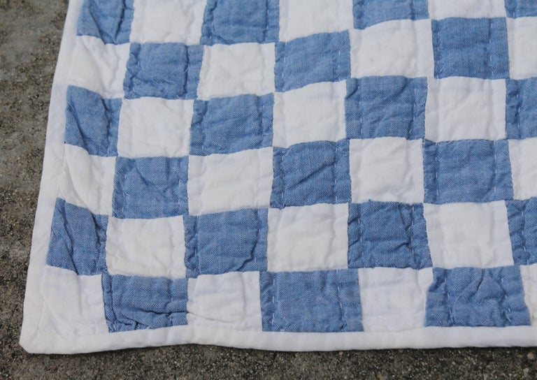 20th Century Blue and White Postage Stamp Quilt For Sale