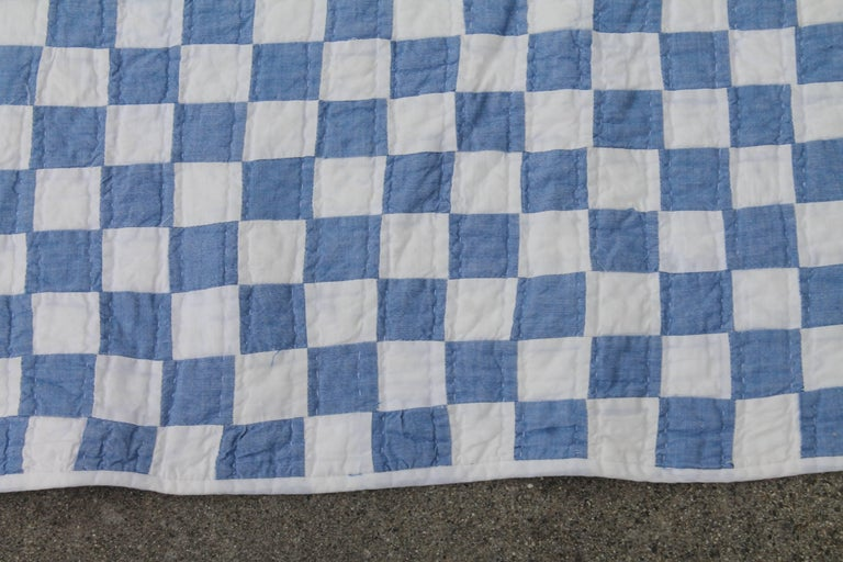 Hand-Crafted Blue and White Postage Stamp Quilt For Sale