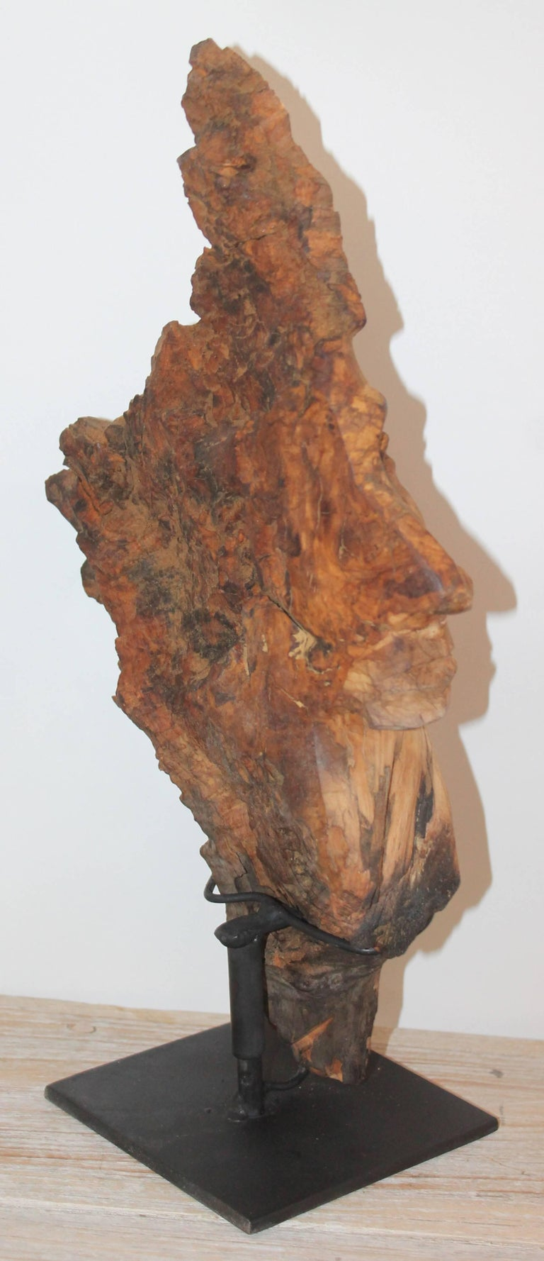 Hand-Carved Indian Head of Wood For Sale 3