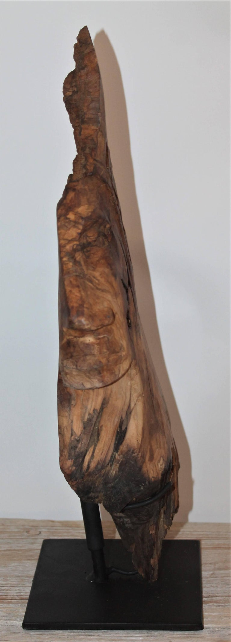 Hand-Carved Indian Head of Wood For Sale 4