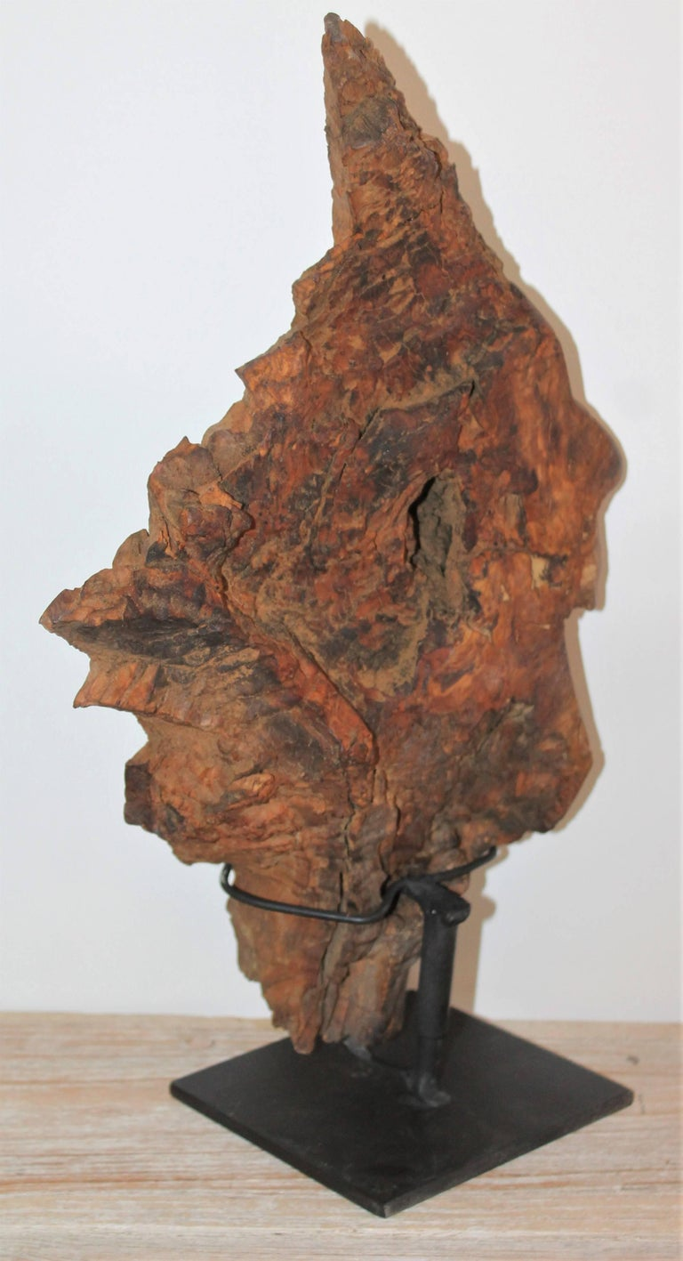 Hand-Carved Indian Head of Wood For Sale 1