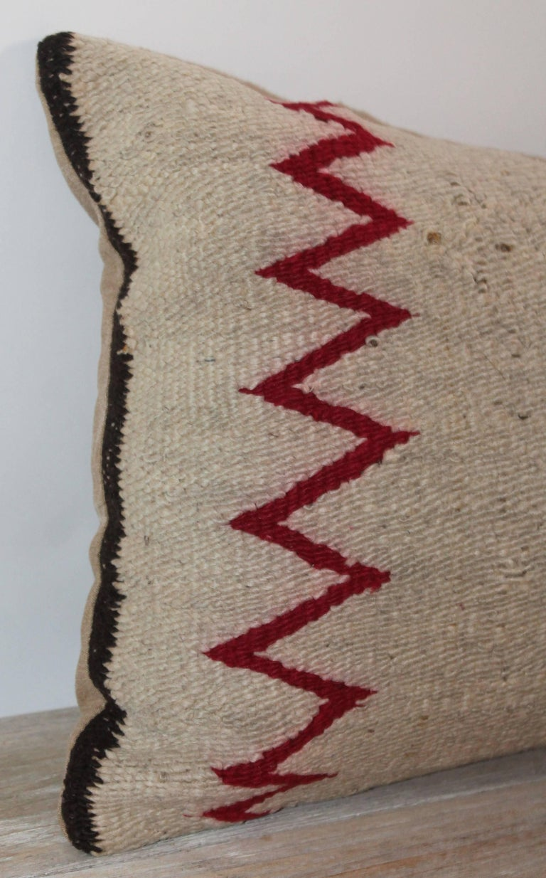 American Early 20th Century Navajo Indian Weaving Bolster Pillow For Sale