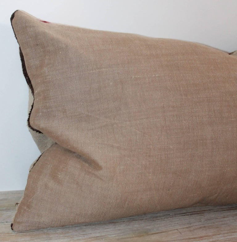 Navajo Indian Weaving Geometric Bolster Pillow In Excellent Condition For Sale In Los Angeles, CA