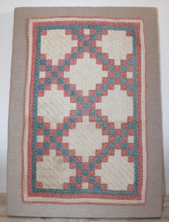 19th Century Mounted Doll Quilt, Postage Stamp Chain