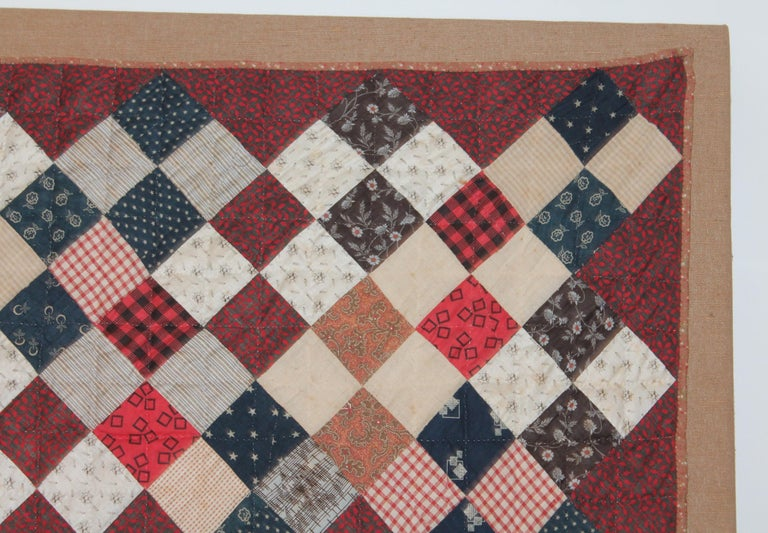 American 19th Century One Patch Crib Quilt / Mounted For Sale