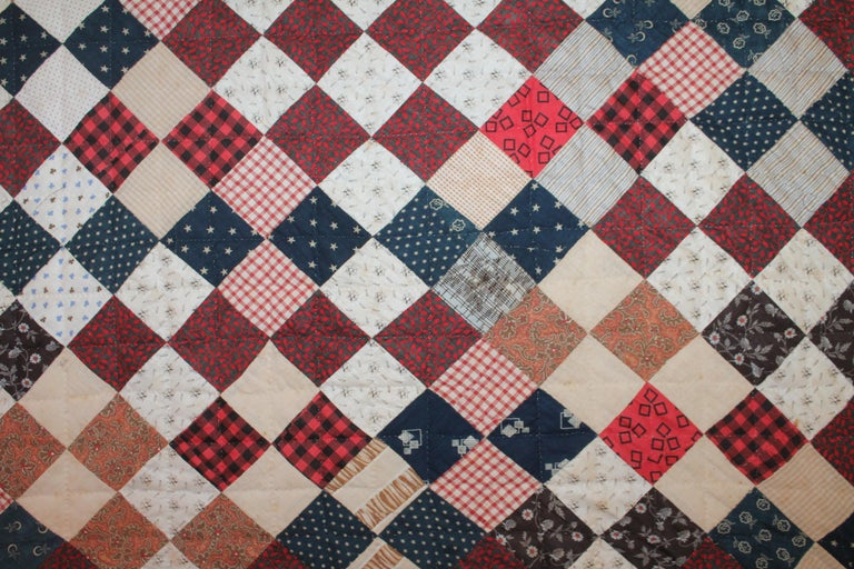 Cotton 19th Century One Patch Crib Quilt / Mounted For Sale