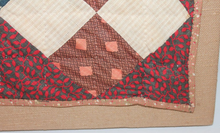 19th Century One Patch Crib Quilt / Mounted For Sale 1