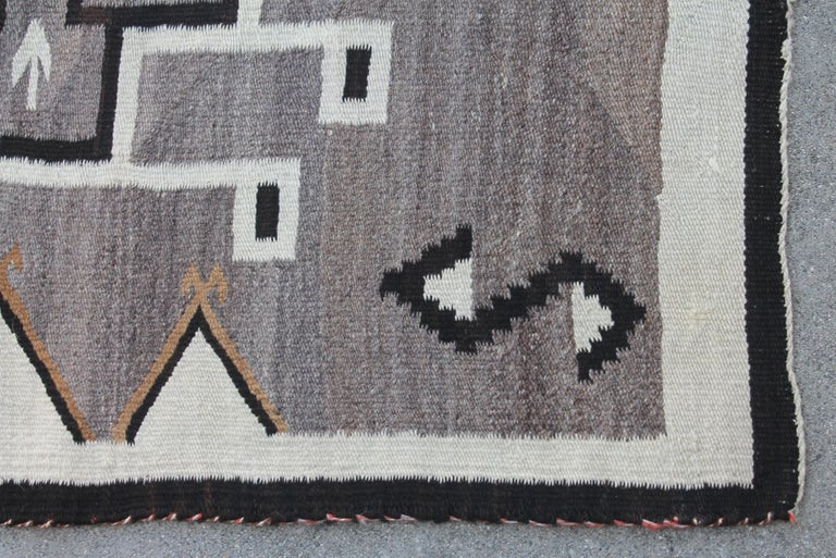 Hand-Woven Two Grey Hills Navajo Indian Weaving For Sale