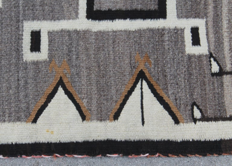 20th Century Two Grey Hills Navajo Indian Weaving For Sale